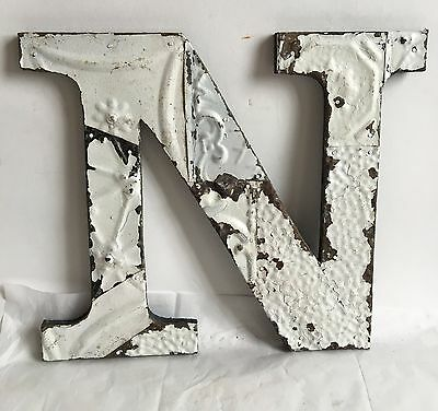 """1890's Antique Tin Ceiling Wrapped 12"""" Letter 'N'' Patchwork Metal Chic White A9"""