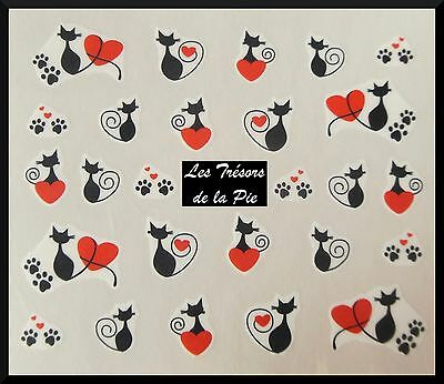 STICKERS ONGLES WATER DECAL (x20) - Nail art - Chats & coeurs - Noir & rouge