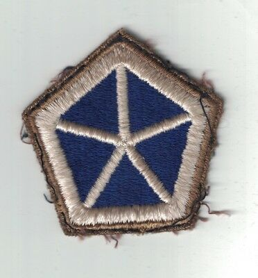WWII Original US Army V Corps 5th Corps Shoulder Patch As Removed Green Back