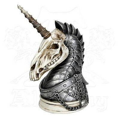 Alchemy Gothic UNICORN WAR HORSE Statue Bust, Removable Horn, Armored Skull V37