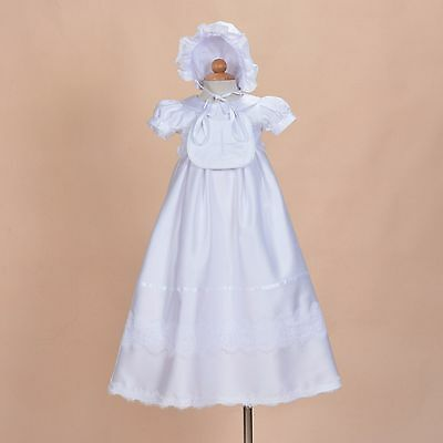 New Baby Girls White Satin Christening Gown with Bib and Bonnet 6-9 Months