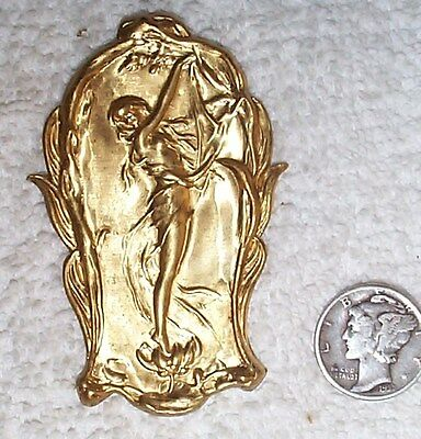 Vintage Incredible Art Nouveau Standing Lady Brass Stampings 4 Pieces
