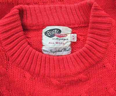 Vtg 40-50s Rugby Sportswear Red Wool Cable Knit Pull over Sweater Mens 42