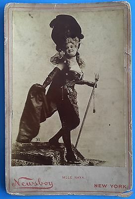 *Original* ACTRESS Mlle Naya NEWSBOY 1890's Cabinet Photo IOWA LUNCH COUNTER