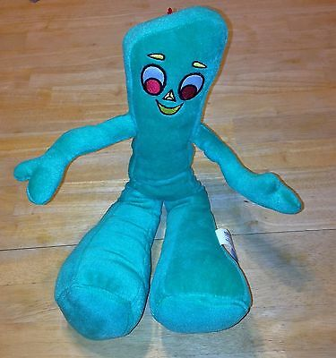 """GUMBY Plush Doll 15"""" Bendable Green 2000 Stuffed TOY Sewn Face"""
