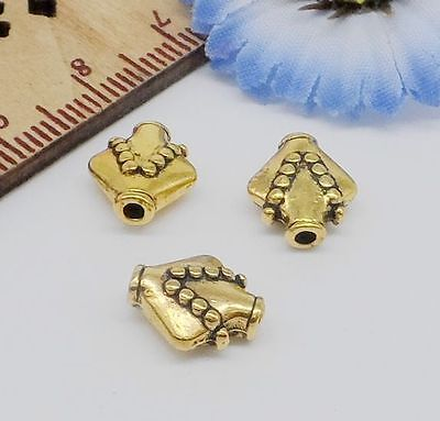 Free Ship 30/150Pcs Gold Plated Spacer Beads Fit Bracelet For Jewelry 10x9x5mm