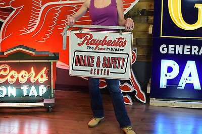Raybestos Brakes Gas Oil Station Tin Sign Vintage Advert 2 sided hanging bracket