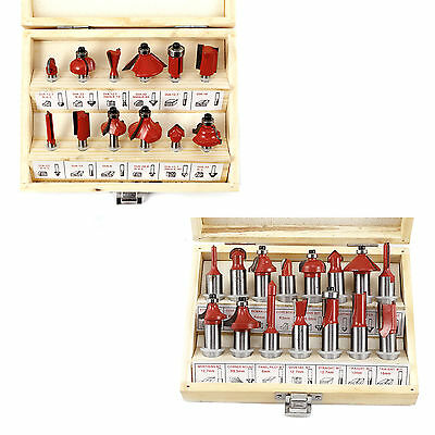 "Wood Workers 12/15 pcs 1/4"" 1/2"" Router Bit Set in Wooden Case Woodworking Tool"