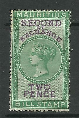 MAURITIUS - 2p SECOND OF EXCHANGE BILL STAMP - FISCAL - S# -  E406