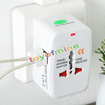 Travel Power 2USB Charger Universal Adapter AU/UK/US/EU All in One International