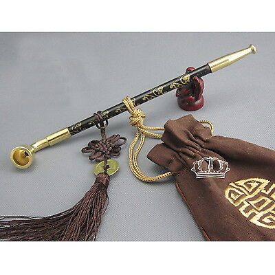 Chinese long stem tobacco smoking pipes wood copper cigarette holder pipe {