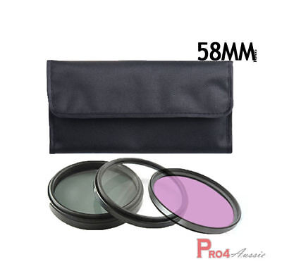 UV + CPL + FLD Filter 58mm For Nikon Canon Sony Camera Kit Lens AU Local