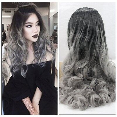 2016 Hot Women's Wavy Synthetic Lace Front Wigs Black Dark Grey Mixed Hair Wigs