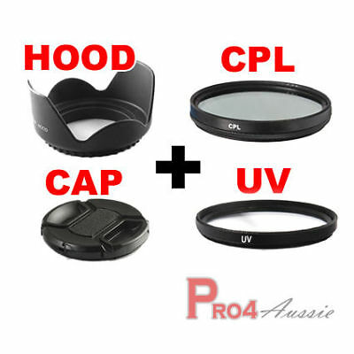 UV+CPL Filter+Flower Hood+Lens Cap 55mm For Nikon d3100 d3200 d5000 d5100 Camera