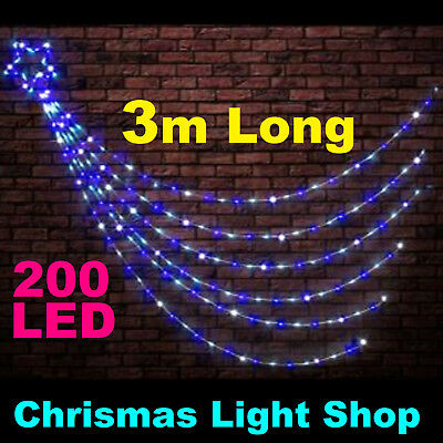200 LED BLUE & WHITE Waterfall Star 3m Strands Shooting Outdoor Christmas Lights