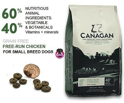Canagan Small Breed Grain Free Dog Food. Free Run Chicken in 2kg & 6Kg bags