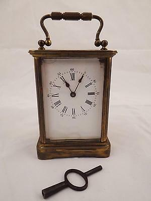 Antique French Brevete Carriage Clock 8 Day Late 19Th Century W/ Key