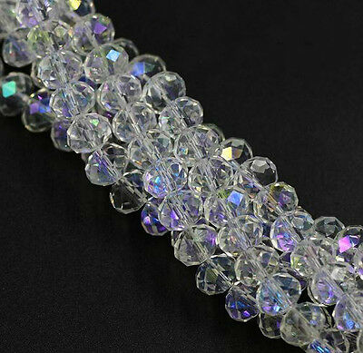 Free 100Pcs White AB Faceted Glass Crystal Rondelle Beads.Spacer Beads 4/6/8mm