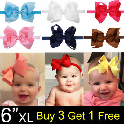 "6"" XL Sweet Baby Kids Girls Headwear Bow Hair Band Big Bow Knot Elastic Headband"
