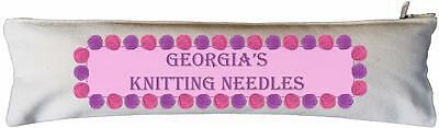 Personalised -  Cotton Knitting Needle Case - SUPPLIED EMPTY wool design
