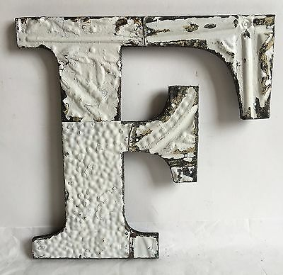"Shabby Antique Tin Ceiling Wrapped 12"" Letter 'F' Patchwork  Mosaic White A15"