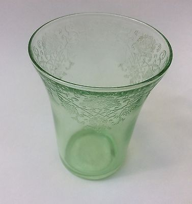 Hazel Atlas Florentine #2 Poppy Green Depression Glass Flat Water Tumbler 4 1/8""