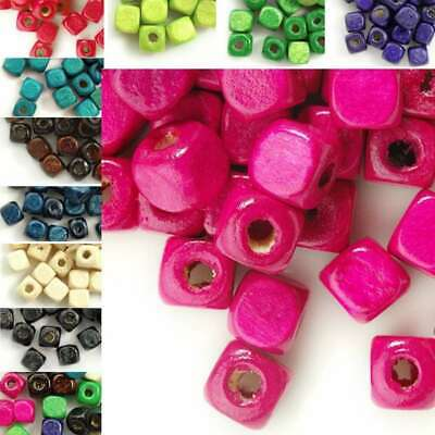 30g 300pcs Approx Cube Wooden Wood Beads Spacer Dyed Beads 6x6mm Findings DIY