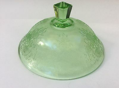 Hazel Atlas Florentine #2 Poppy Green Depression Glass Covered Butter Dish Lid