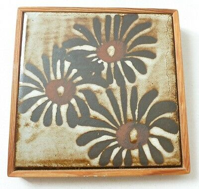 RARE Briglin Pottery framed decorative art pottery tile / wall plaque