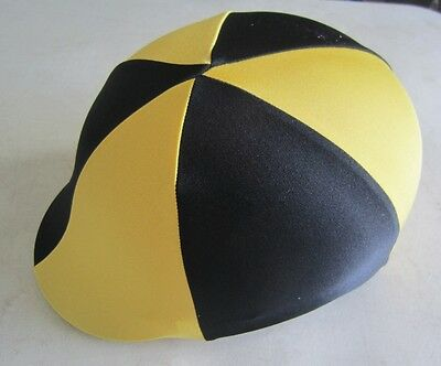 Horse Helmet Cover ALL AUSTRALIAN MADE Black & Yellow Any size you need