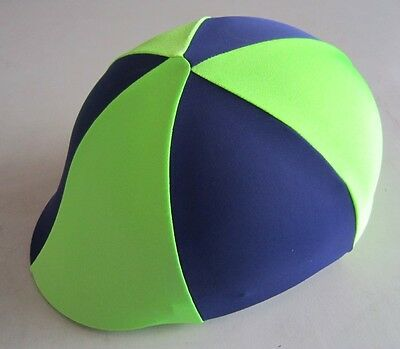 Horse Helmet Cover ALL AUSTRALIAN MADE Navy Blue & Lime Green Any size you need