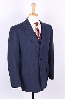 "Vtg 40S ""Hickey Freeman"" Wool Plaid Suit Jacket Vest Mens Size 38"