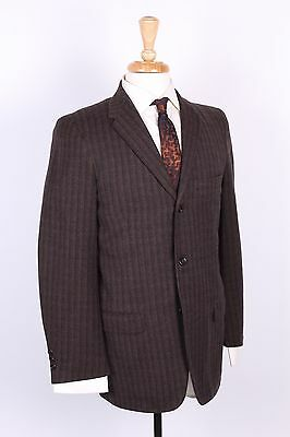 Vintage 60S Wool Plaid Three Button Slim Skinny Suit Mens 36-38