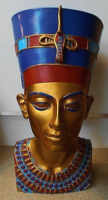 "Large Queen Nefertiti Bust Figurine Statue 13"" Ancient Egyptian Style"