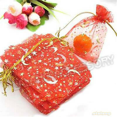 50x Hot Sale Red Moon Nose Stars Organza Wedding Gift Bags Fit Jewelry Gift BS