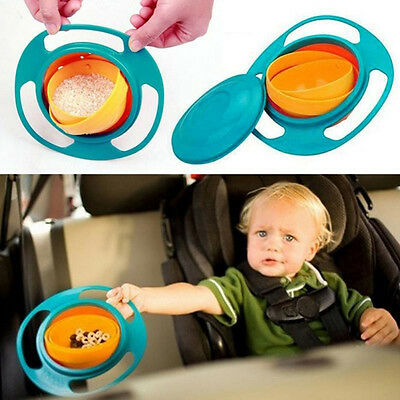 Baby Universal 360 Degree Rotate Spill-Proof Gyro Bowl Dishes + Lid 2016