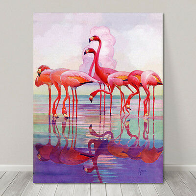 "BEAUTIFUL BIRD ART ~ CANVAS PRINT  8x10"" ~ Pink Flamingo Watercolor"