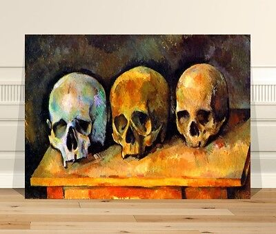 "Stunning Vintage Fine Art ~ CANVAS PRINT 16x12"" ~ Three Skulls Paul Cezanne"