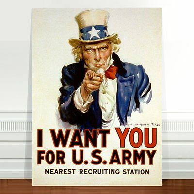 """Cool Vintage War Poster Art ~ CANVAS PRINT 16x12"""" ~ Uncle Sam I want You"""
