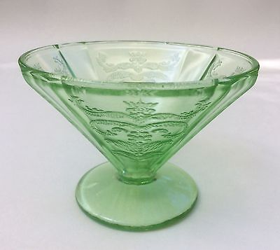 Federal Madrid Green Depression Glass Footed Cone Shaped Sherbet Cup s