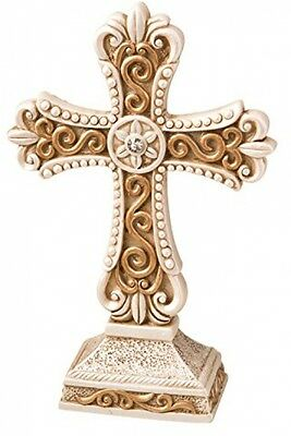 Fashioncraft 8698 Beautiful Antique Ivory Cross Statue With Matte Gold Detailing