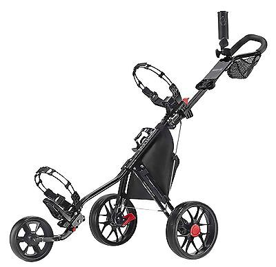 Caddytek 11.5 V3 ALU 3 Wheel Golf Push Trolley light Black Edition Model 17