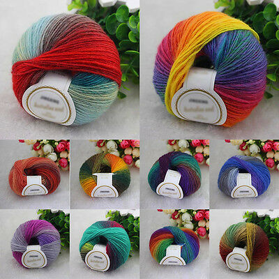 10 colors Rainbow Colorful Wool Crochet 50g Ball Baby Knit Wool Yarn Craft DL
