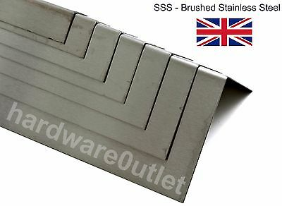 BRUSHED STAINLESS STEEL Folded Angle 1.2mm - 10 Sizes & 15 Lengths Avaliable