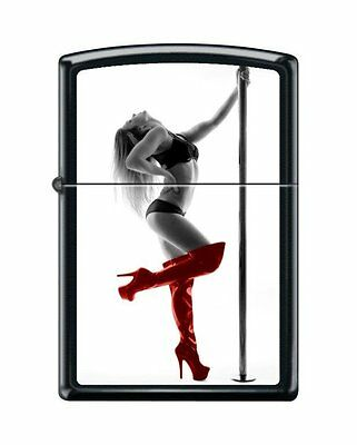 Zippo 8087, Woman in Lingerie-Red Shoes,  Black Matte Lighter