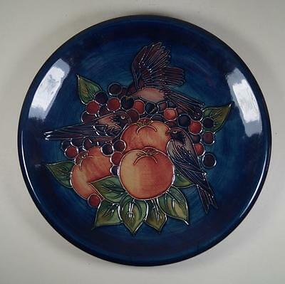 "Moorcroft Large 10.5"" Charger Plate Finches & Fruit by Sally Tuffin"
