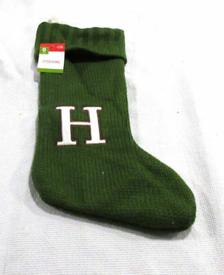 """NWT Target Monogrammed """"H"""" Green Sweater Knit Christmas Holiday Stocking"""
