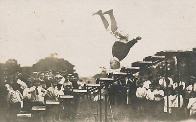 Fairground Man Walking On His Head Down Stairs Real Photo Postcard