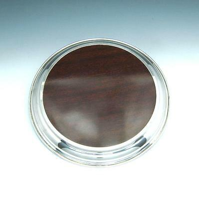 """Vintage Lunt Sterling Silver & Faux Wood 9"""" Round Drink Serving Tray / Charger"""