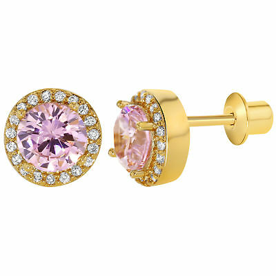 18k Gold Plated Pink Clear CZ Screw Back Earrings Girls 8mm